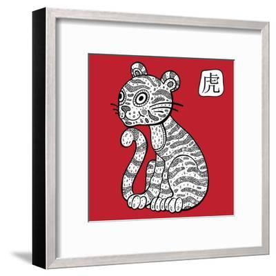 Chinese Zodiac. Animal Astrological Sign. Tiger.-Katyau-Framed Art Print