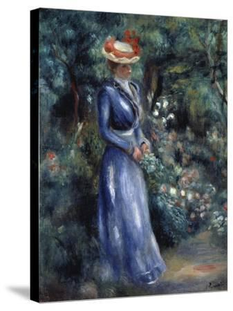 Woman in a Blue Dress Standing in the Garden at Saint-Cloud, 1899-Pierre-Auguste Renoir-Stretched Canvas Print