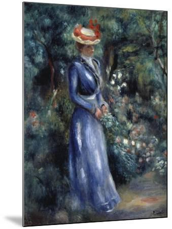 Woman in a Blue Dress Standing in the Garden at Saint-Cloud, 1899-Pierre-Auguste Renoir-Mounted Giclee Print