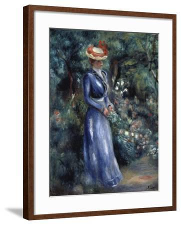 Woman in a Blue Dress Standing in the Garden at Saint-Cloud, 1899-Pierre-Auguste Renoir-Framed Giclee Print