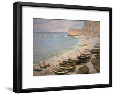 Beach with Boats at Etretat, 1883-Claude Monet-Framed Giclee Print