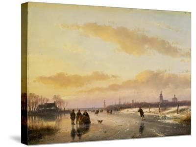 Enjoying the Ice, 1855-Andreas Schelfhout-Stretched Canvas Print