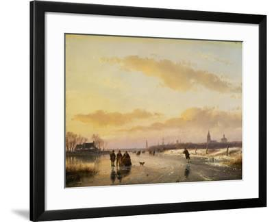Enjoying the Ice, 1855-Andreas Schelfhout-Framed Giclee Print