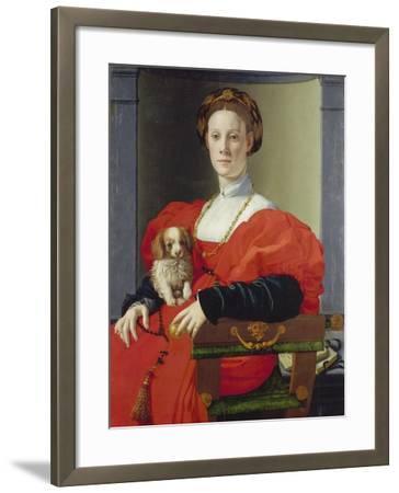 Bildnis Einer Dame Mit Schosshuendchen, 1537-1540-Agnolo Bronzino-Framed Giclee Print