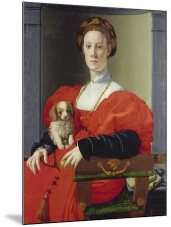 Bildnis Einer Dame Mit Schosshuendchen, 1537-1540-Agnolo Bronzino-Mounted Giclee Print