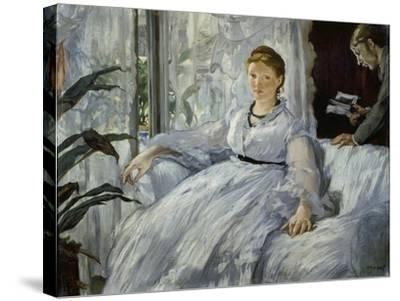 The Reading, Mme, Manet and Her Son, Léon Koella-Leenhoff, 1869-Edouard Manet-Stretched Canvas Print