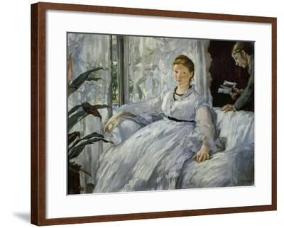 The Reading, Mme, Manet and Her Son, Léon Koella-Leenhoff, 1869-Edouard Manet-Framed Giclee Print