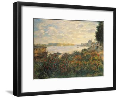 Red Flowers at the Bank at Argenteuil, 1877-Claude Monet-Framed Premium Giclee Print