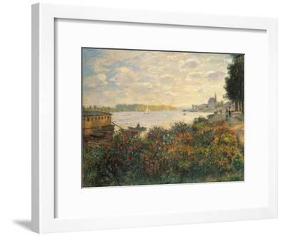 Red Flowers at the Bank at Argenteuil, 1877-Claude Monet-Framed Giclee Print