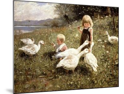 Feeding Geese, 1890-Alexander Koester-Mounted Giclee Print