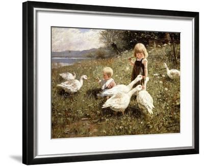 Feeding Geese, 1890-Alexander Koester-Framed Giclee Print