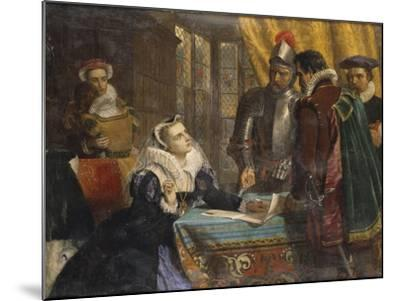 The Forced Abdication of Mary, Queen of Scots (1542- 1587), at Lochleven Castle, 25th July 1567-Charles Lucy-Mounted Giclee Print