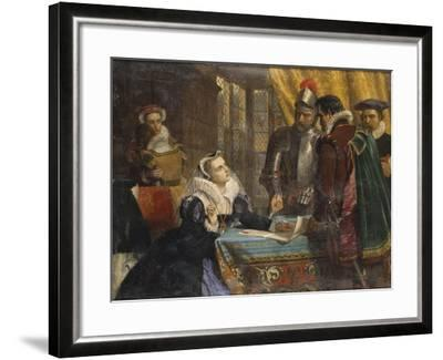 The Forced Abdication of Mary, Queen of Scots (1542- 1587), at Lochleven Castle, 25th July 1567-Charles Lucy-Framed Giclee Print