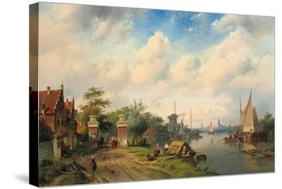 A River Landscape in Summer, 1853-Charles Henri Joseph Leickert-Stretched Canvas Print