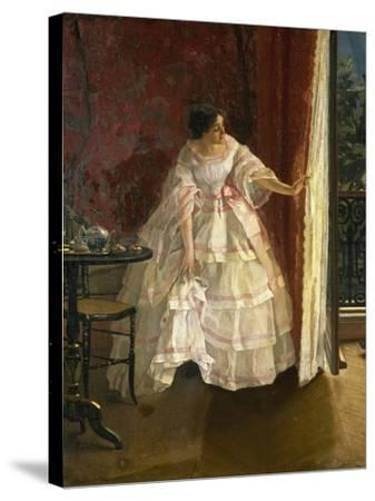 Lady at the Window, Feeding Birds, 1850-Alfred Stevens-Stretched Canvas Print