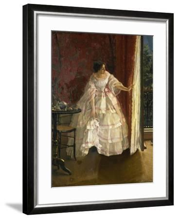 Lady at the Window, Feeding Birds, 1850-Alfred Stevens-Framed Giclee Print