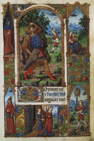 David and Goliath, from a French Book of Hours (Memb, II 176, 136V)- Handschrift-Stretched Canvas Print