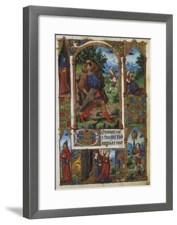 David and Goliath, from a French Book of Hours (Memb, II 176, 136V)- Handschrift-Framed Giclee Print