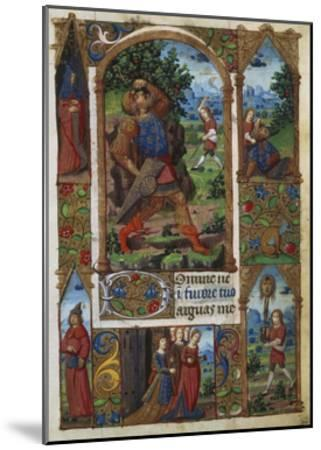 David and Goliath, from a French Book of Hours (Memb, II 176, 136V)- Handschrift-Mounted Giclee Print