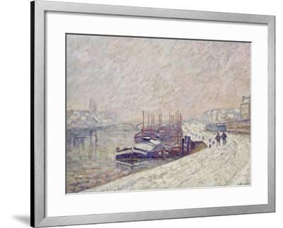 Barges in the Snow-Jean-Baptiste Armand Guillaumin-Framed Giclee Print