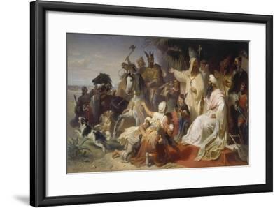 Harun Ar-Raschid Receives the Envoy of Charlemagne-Julius Köckert-Framed Giclee Print