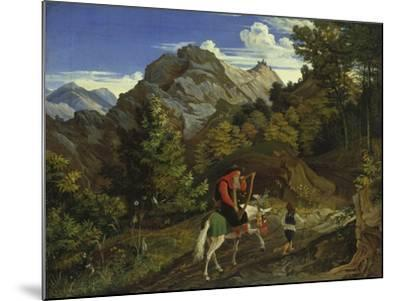 Home-Coming Harpist, 1825-Ludwig Richter-Mounted Giclee Print