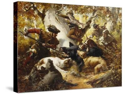 The Wild Boar Hunt-Ferdinand Wagner-Stretched Canvas Print