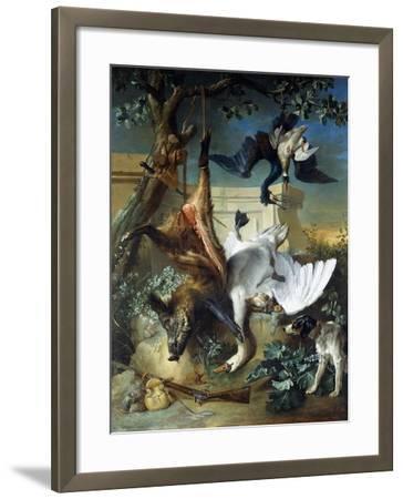 La Retour De Chasse: a Hunting Dog Guarding Dead Game-Jean-Baptiste Oudry-Framed Giclee Print