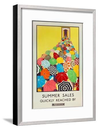 Summer Sales, Quickly Reached by Underground, 1925-Mary Koop-Framed Premium Giclee Print
