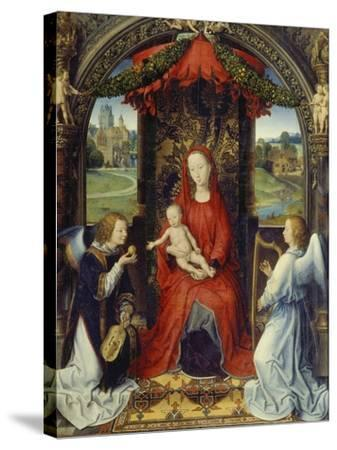 Virgin and Child with Two Angels-Hans Memling-Stretched Canvas Print