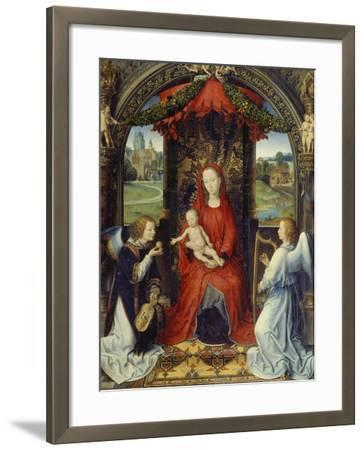 Virgin and Child with Two Angels-Hans Memling-Framed Giclee Print