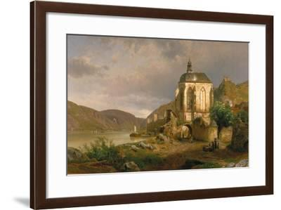 Rhine Landscape with Werner Chapel Near Oberwesel-Johann G Pulian-Framed Giclee Print
