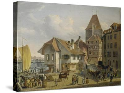 The Harbour of Basel-Konstantin Guise-Stretched Canvas Print