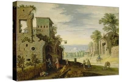 Landscape with Ruins and View of a Town, Ca. 1620-Marten Ryckaert-Stretched Canvas Print
