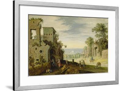 Landscape with Ruins and View of a Town, Ca. 1620-Marten Ryckaert-Framed Giclee Print