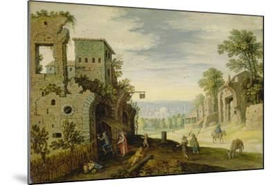 Landscape with Ruins and View of a Town, Ca. 1620-Marten Ryckaert-Mounted Giclee Print