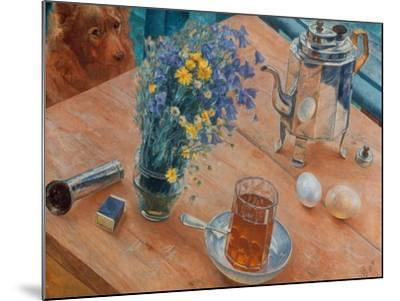 Morning (Still Life with Tea Pot, Glass of Tea and Vase of Flowers), 1918-Kosjma Ssergej Petroff-Wodkin-Mounted Giclee Print