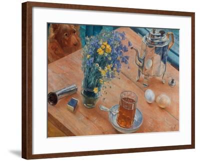 Morning (Still Life with Tea Pot, Glass of Tea and Vase of Flowers), 1918-Kosjma Ssergej Petroff-Wodkin-Framed Giclee Print