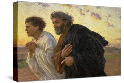On the Morning of the Resurrection, the Disciples Peter and John on their Way to the Grave-Eugene Burnand-Stretched Canvas Print