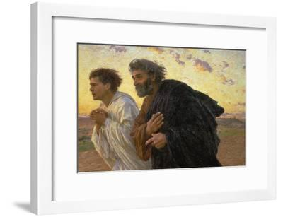 On the Morning of the Resurrection, the Disciples Peter and John on their Way to the Grave-Eugene Burnand-Framed Giclee Print