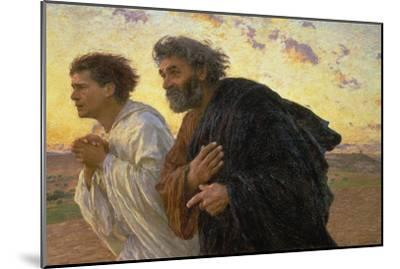 On the Morning of the Resurrection, the Disciples Peter and John on their Way to the Grave-Eugene Burnand-Mounted Giclee Print