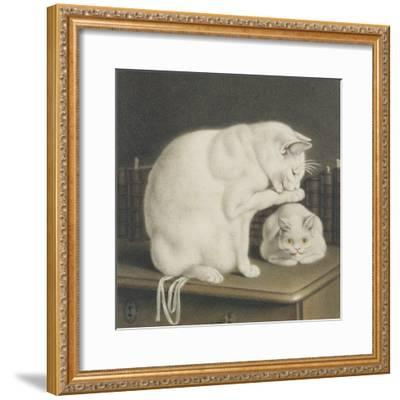 Two White Cats with Books on a Table-Gottfried Mind-Framed Giclee Print
