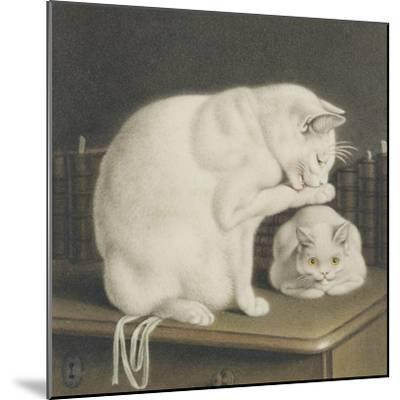 Two White Cats with Books on a Table-Gottfried Mind-Mounted Giclee Print