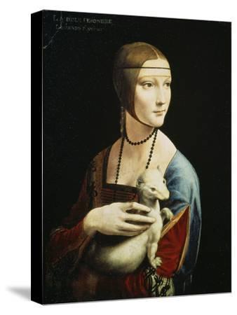 Lady with an Ermine (Portrait of Celilia Gallerani), C. 1490-Leonardo da Vinci-Stretched Canvas Print