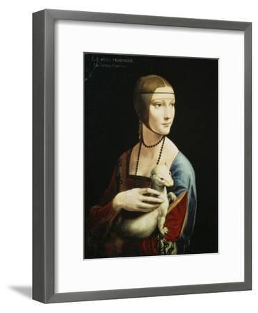 Lady with an Ermine (Portrait of Celilia Gallerani), C. 1490-Leonardo da Vinci-Framed Premium Giclee Print