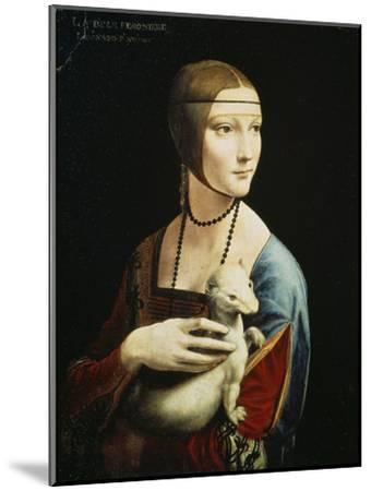 Lady with an Ermine (Portrait of Celilia Gallerani), C. 1490-Leonardo da Vinci-Mounted Premium Giclee Print