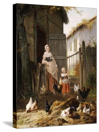 Feeding the Chickens, (Maes and Jan David Col, 1822-1900)-Eugene Remy Maes-Stretched Canvas Print