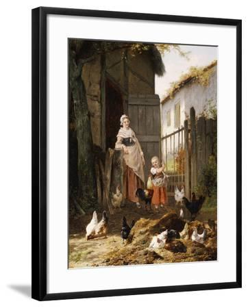 Feeding the Chickens, (Maes and Jan David Col, 1822-1900)-Eugene Remy Maes-Framed Giclee Print