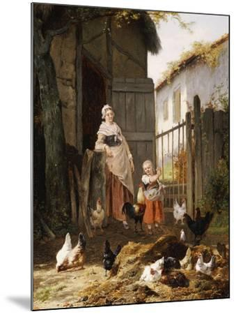 Feeding the Chickens, (Maes and Jan David Col, 1822-1900)-Eugene Remy Maes-Mounted Giclee Print