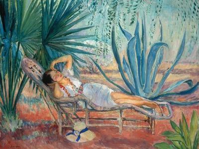 Marthe Taking a Break in a Deck Chair, Saint-Tropez, C. 1910-15-Henri Lebasque-Framed Giclee Print